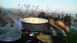 影信山で鍋焼きうどん